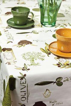 Faţă de masă Bonita - Faţă de masă din material plastic, uşor de curăţat, cu un design impresionant pentru amatorii stilului mediteranean. Tableware, Plastic, Design, Pretty, Olive Oil, Dinnerware, Tablewares, Place Settings
