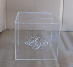 Custom Engraved Acrylic Box  - Wedding Card Box, Gift Card Box, Donation Box, Comment Box