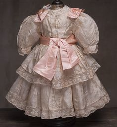 """Antique Original Peach SIlk Dress for doll about 20-21"""" (51-54 cm) from respectfulbear on Ruby Lane"""