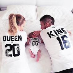 This King, Queen and Prince shirts are totally adorable! The set includes 2 Unisex Adult t-shirts and one baby bodysuit. The design features not only the print on the back but it has also amazing print on the front - we are sure you're going to fall in love with them! ✔ The adult t-shirts are available in 3 colors - white, grey and black. The composition is 95% cotton and 5% elastane. They are extremely soft and comfortable. ✔ The bodysuit is 100% cotton - it is very delicate. ✔ The QUEEN…