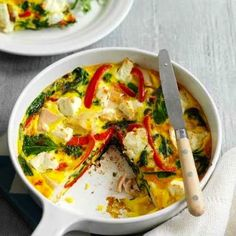 A great way to use up leftover chicken from a Sunday roast, this frittata can be served with a green salad for a quick summery supper Cooked Chicken Recipes, Leftover Chicken Recipes, How To Cook Chicken, Recipe Chicken, Brunch Recipes, Easy Dinner Recipes, Easy Meals, Healthy Dinners, Mediterranean Chicken