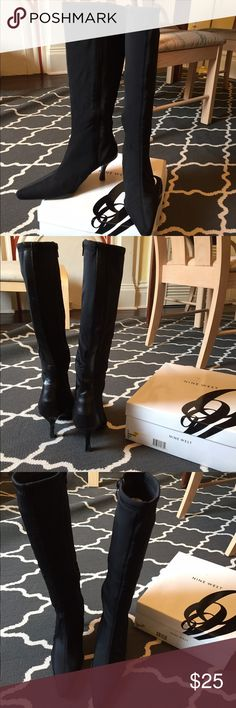 Black stretchy heeled boots Neoprene-like below-the-knee black boots with pointed toe and narrow heel. These would complete any Catwoman costume. Purchased at Marshall's for $40, never worn. Nine West Shoes Heeled Boots