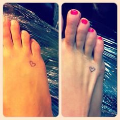 My girls got these tattoos. The older one had them done as a birthday gift for the younger one. They each drew the hearts on the others foot...got the idea from Pinterest. I want to do this with my sisters!