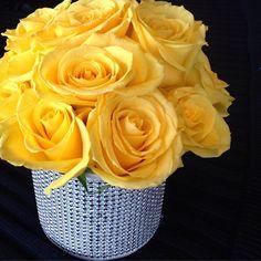 #c2mdesigns #yellow #roses #rhinestone #bling #centerpiece #corporateevent #floral #floraldesign  #designsthatrock #likeC2MdesignsFacebook Designer: #christinemccaffery