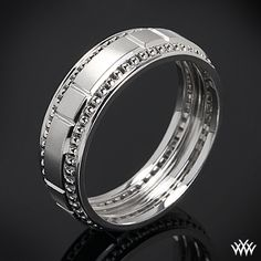 White Gold Verragio Beaded Dual Chamber Wedding Ring This Men's Verragio Wedding Ring features a compelling design that will highlight your guys individuality without overpowering it.