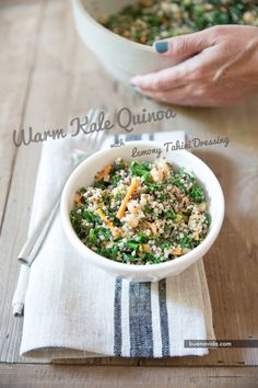Warm Kale Quinoa with Lemony Tahini Dressing