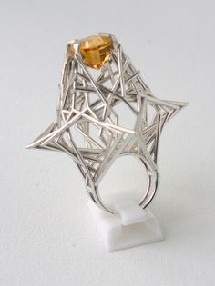 Ring | Iain Baird.  Sterling silver with citrine.