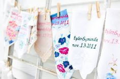 happy hankies.  personalized with your names and wedding date.  available at www.bluebirdbridal.etsy.com
