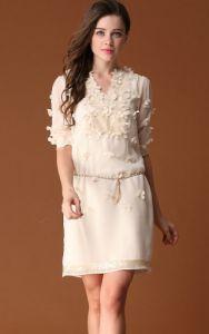 White Short Sleeve V-neck Applique Belt Dress $80.33
