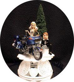 Wedding Cake Topper W Diecast GLIDE Harley Davidson Motorcycle Funny Groom Top
