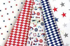 Sky & navy blue marine cotton fabric set with anchors, lighthouses, boats, stars & harlequin / Zestaw marynarski