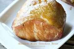 Homemade Maple Canadian Bacon {Smoker Optional} from Foodie With Family for Jerky Recipes, Traeger Recipes, Smoked Meat Recipes, Smoked Bacon, Sausage Recipes, Cooking Recipes, Smoker Recipes, Rub Recipes, Canadian Bacon