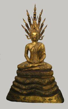 Rattanakosin Gilt Bronze Sculpture of the Buddha Seated Under Naga  Origin: Thailand Circa: 18 th Century AD to 19 th Century AD