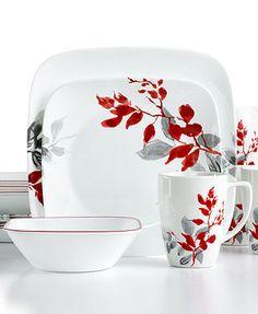 Corelle Kyoto Leaves Square 16-Pc. Set Service for 4  sc 1 st  Pinterest & NEW Unique 16pc Black Dishes White Red Floral Asian Dinnerware Set ...