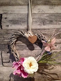 Wicker Flower Love heart hanging decor by on Etsy Wicker Hearts, Love Heart, Grapevine Wreath, Grape Vines, Romantic, Wreaths, Unique Jewelry, Handmade Gifts, Flowers