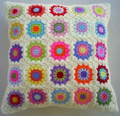 https://flic.kr/p/hWi4hw | granny square cushion cover in cream edging | 25 different circles in squares