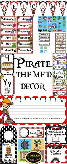 Pirate themed room decor for your treasure island/ocean or pirate themed classroom.  Includes editable name plates, welcome banner, calendar set, editable classroom jobs, door hangers, editable schedule cards, alphabet posters and number posters. $19.99
