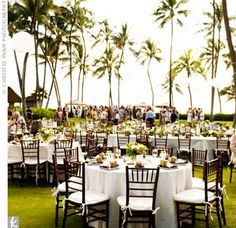 Following the ceremony, guests gathered on a lawn overlooking the ocean for cocktails followed by dinner and dancing.