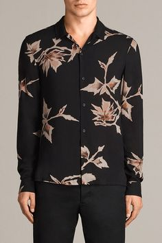92a71f219cd0a AllSaints New Arrivals  Tomales Shirt. The Tomales Shirt is printed with a  large scale all over floral print taken from vintage Japanese kimono  patterns.