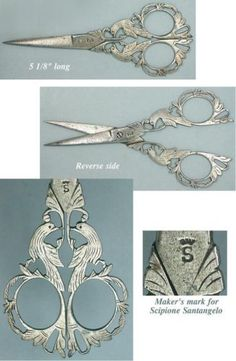 Ornate Antique Italian Steel Filigree Birds Scissors * Circa 1890