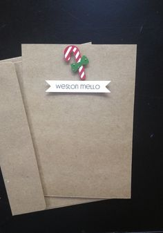 Candy Cane, Personalized Handmade Christmas Card and Thank You Card for Kids, Set of 8