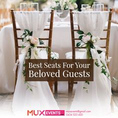 #MuxEvents Provide comfort to your guests with chairs. Call us   +61 434 523 420