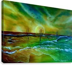 Painting,  coastal,seascape,scene,beach,waves,water,sandy,sunset,sky,dead,trees,nature,saltwater,ocean,sea,planet,picturesque,dreamscape,vibrant,vivid,colorful,green,blue,impressive,magical,cool,beautiful,powerful,atmospheric,east,coast,fantasy,mesmerizing,contemporary,imagination,surreal,realism,fine,oil,wall,art,images,home,office,decor,artwork,modern,items,ideas,for sale,pictorem,pinterest