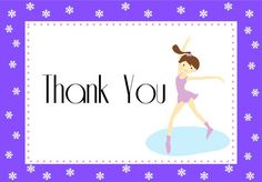Figure Skating Thank You Cards from the Purple Ice Skating Birthday Party by TrishsDesignStudio