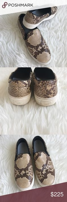 Women's Celine Python Slip On Sneakers Size 39.5 Celine Phoebe Philo Collection, brown and beige python sneakers with black leather trim. Rounded toe, white rubber platform and sole. Size 39.5 100% authentic, some wear and tear and these sneakers have a custom insert for added comfort/support. Please see pictures. Celine Shoes Sneakers