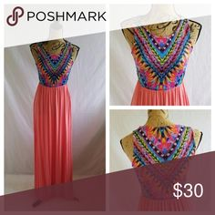 12 PM by Mon Ami Coral Boho Maxi Dress 95% rayon 5% spandex.   Very stretchy!   True to size.  Made in USA.   Price is FIRM.  #110820 12 PM by Mon Ami Dresses Maxi