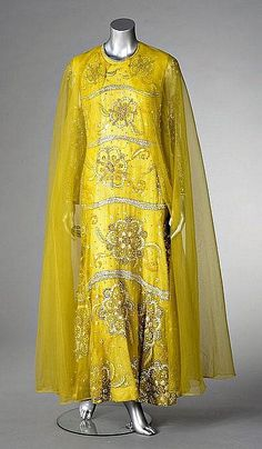A Marc Bohan for Christian Dior couture yellow cigaline evening gown, 1965-68