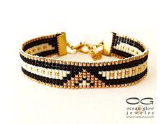 Bead loom bracelet Romantic Night - friendship bracelet, beaded bracelet, miyuki…