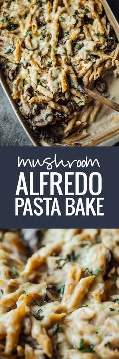 Healthy Mushroom Alfredo Pasta Bake - A rustic comfort food with creamy cauliflower sauce. Healthy Mushroom Alfredo Pasta Bake - A rustic comfort food with creamy cauliflower sauce. Yummy Recipes, Pasta Recipes, New Recipes, Vegetarian Recipes, Dinner Recipes, Cooking Recipes, Healthy Recipes, Recipe Pasta, Alfredo Recipe