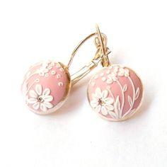 Light Pink Earrings Flower Earrings Polymer by FairyFlowersJewels
