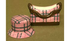 Pink Plaid Purse and Hat Salt and Pepper Shakers White earthenware clay lightweight ceramic Hand designed and painted A removable plastic plug is located on the underside of each shaker for easy acces