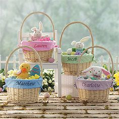 LOVE LOVE LOVE these Jumbo Personalized Easter Baskets! You can pick any color basket liner and have it embroidered with your little one's name! These are so precious! They have a bunch of cute Easter Gifts and PersonalizationMall - LOVE their site! #Easter #Basket