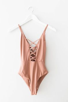 Seamless one piece swimsuit with a caged front in dusty rose. Cheeky fit with high leg cut sides. Open square back with adjustable straps. Made and manufactured in the USA at the highest quality stand Bikini Babes, Bikini Modells, Bikini Beach, Sexy Bikini, Summer Outfits, Cute Outfits, Beach Outfits, Trendy Outfits, Cute Bathing Suits