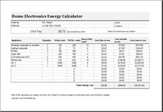 Electric Energy Cost Calculator Template For EXCEL