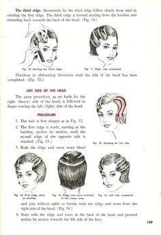 Vintage Hairstyles Tutorial The OG of hair how-tos — a 1938 cosmetology textbook. - From victory rolls to finger waves, the seven retro hair tutorials you don't want to miss. Hairstyle Tutorial, Vintage Hairstyles Tutorial, 1940s Hairstyles, Diy Hairstyles, 1920s Hair Tutorial, Historical Hairstyles, Wedding Hairstyles, Finger Waves Tutorial, Finger Waves Short Hair