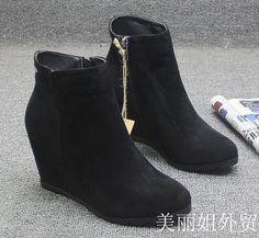 Европейской и американской внешней торговли одного склона с ультра-высокие сапоги с боковой молнии сапоги Челси сапоги пригородной замша стелькой - глобальной станции Taobao