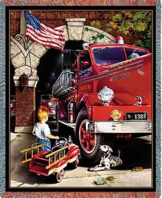 Personalized Childhood Dreams Firefighter Tapestry Throw
