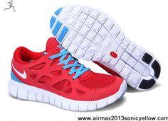 1330b5cf563 Latest Listing Cheap Nike Free Run 2 Mens 443815-614 Sport Red White Blue  Glow