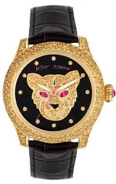 ShopStyle: Betsey Johnson Watch, Women's Black Croc Embossed Leather Strap BJ00019-03