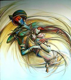 Radha Krishna 3 par l'artiste Manoj Das | Peintures acryliques