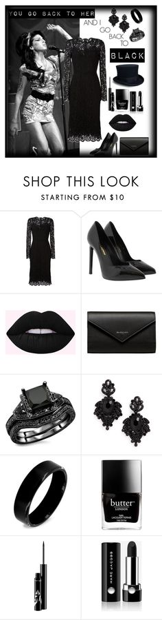"""Back to Black"" by yoloser ❤ liked on Polyvore featuring Amy Winehouse, Dolce&Gabbana, Yves Saint Laurent, Balenciaga, Tasha, West Coast Jewelry, Butter London and Marc Jacobs"