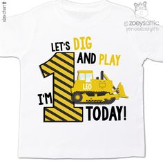 personalized kids shirt, construction digger boy, personalized 1st birthday t-shirt