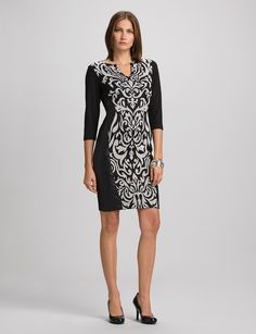 Misses   Scroll Print And Faux Leather Dress   dressbarn