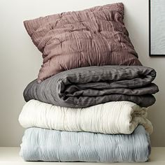 Stella Quilt #WestElm - What about the sugar plum color as quilt for guest bed? We could use the navy comforter for master bed (just hide it under the grey pintuck comforter that we like the look but not the functionality)