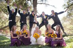 Fun purple and yellow wedding flowers.