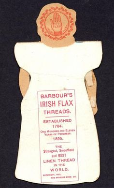 004 - back Vintage Sewing Notions, Barbour, Paper Dolls, Irish, Cushion, Branding, History, Cards, Irish People